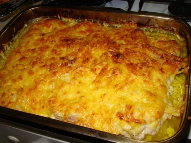Картошка по-французски с курицей и грибами в духовке рецепт пошагово в