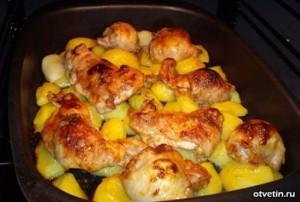 картошка с курицей в духовке в утятнице
