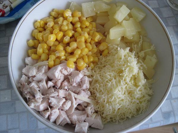 Курица с ананасом салат